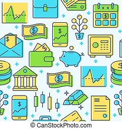 finanza, colorato, modello, seamless, stile, linea