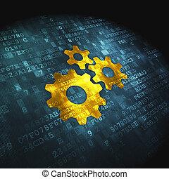 finanza, concept:, ingranaggi, su, sfondo digitale