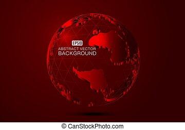 finanza, finanziario, tridimensionale, punto, materials., creativo, sport, collegamento, terra, concetti, internazionale, linea, globalizzazione, rosso, tecnologia