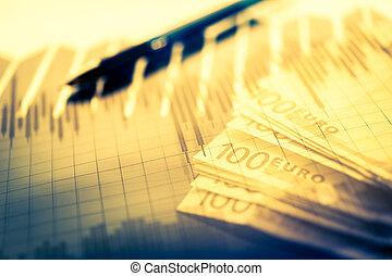 finanza, fondo, con, soldi, borsa, grafico, e, pen., economia, e, affari, concept.