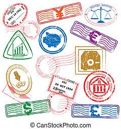 finanza, francobolli, icona, set