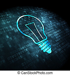 finanza, luce, fondo, digitale, bulbo, concept: