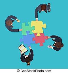 finanza, persone affari, puzzle, jigsaw, soluzione, congegni, aggeggi, pieces., squadra, concept.