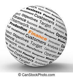 finanza, sfera, definizione, mostra, affari, finanze, o,...