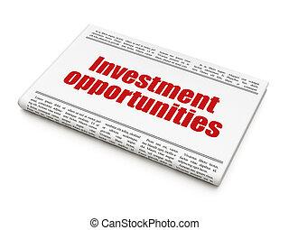 finanza, titolo, opportunità, giornale, investimento, concept: