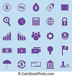 finanza, viola, icone, su, sfondo blu