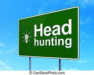 finanzas, concept:, caza de cabeza, y, energía, ahorro, lámpara, en, muestra del camino, plano de fondo