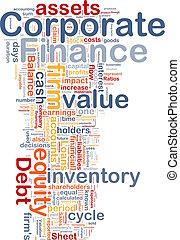 finanzas corporativas, plano de fondo, concepto