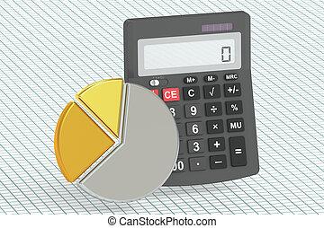 finanzas del negocio, banca, y, contabilidad, concepto, 3d, interpretación