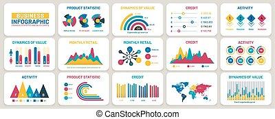 finanzas del negocio, plantilla, informes, infographic, charts., vector, gráficos, conjunto, presentación, mercadotecnia, datos