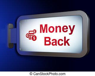 finanzas, dinero, calculadora, espalda, plano de fondo, cartelera, concept: