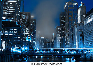 finanzas, distrito, por la noche