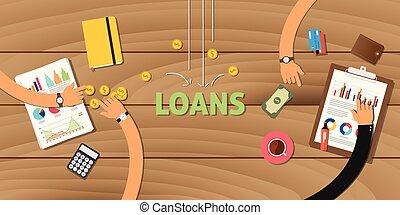 finanzas, empresa / negocio, préstamo, aplicación, analizar,...
