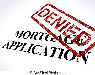 finanzas, hipoteca, estampilla, refused, aplicación, negado...