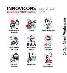 finanzas, iconos, negocio moderno, pictograms, diseño, línea...