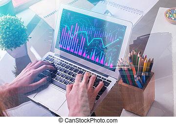 finanzas, informe, y, éxito, concepto