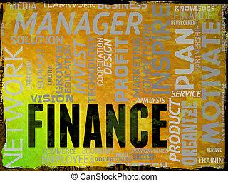finanzas, palabra, exposiciones, comercio, ganancia, y, dinero
