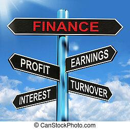 finanzas, poste indicador, exposiciones, ganancia, ganancias, interés, y, volumen de ventas