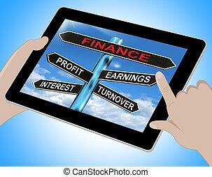 finanzas, tableta, ganancia, ganancias, interés, exposiciones, volumen de ventas