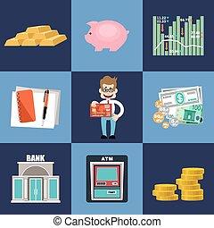 finanzas, y, banca, conjunto