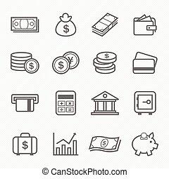 finanzas, y, dinero, iconos