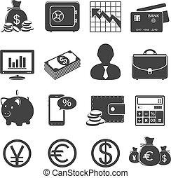 finanzas, y, iconos del negocio