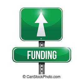 finanziamento, segno strada, illustrazione, disegno
