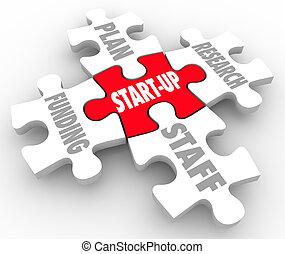 finanziamento, start-up, puzzle, strategia, piano, pezzi, ...