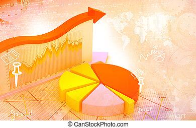 finanziario, affari, tabelle, grafici, crescita, mostra