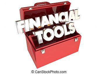 finanziario, attrezzi, soldi, budget, consiglio, punte, risorse, 3d, parole, toolbox
