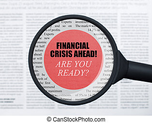 finanziario, avanti, crisi, vetro, sotto, ingrandendo