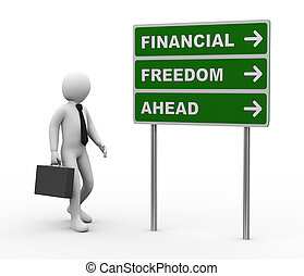 finanziario, avanti, libertà, roadsign, uomo affari, 3d