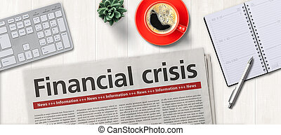finanziario, crisi, giornale, -, scrivania
