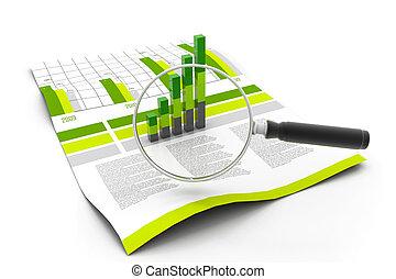 finanziario, dati, e, lente ingrandimento