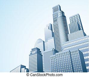 finanziario, distrait, scape, città, urbano