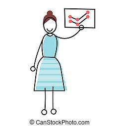 finanziario, donna d'affari, cartello, presa a terra, grafico, cartoncino bianco