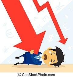 finanziario, giù freccia, cadere, uomo affari, crisi, rosso