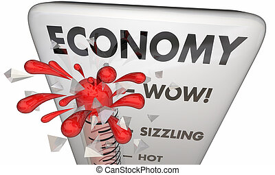 finanziario, illustrazione, salita, termometro, 3d, mercati, economia