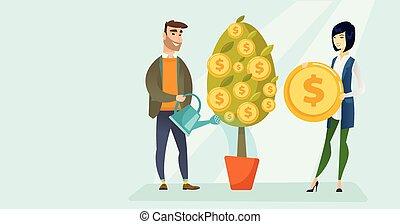 finanziario, irrigazione, giovane, albero., caucasian bianco, uomo