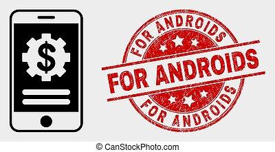 finanziario, mobile, androids, vettore, sigillo, grunge,...