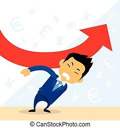 finanziario, negativo, giù freccia, cadere, uomo affari, presa, rosso