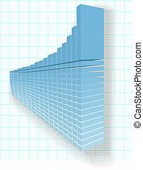 finanziario, profitto, alzarsi, grafico, alta crescita, disegno, 3d