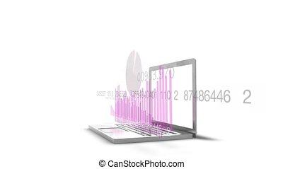 finanziario, proiezioni, laptop, hd