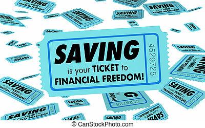 finanziario, ricchezza, libertà, illustrazione, soldi, crescente, risparmio, biglietto, 3d