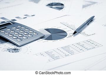 finanziario, tabelle, e, grafici
