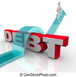 finanziell, aus, schuld, problem, bekommen, krise, überwinden