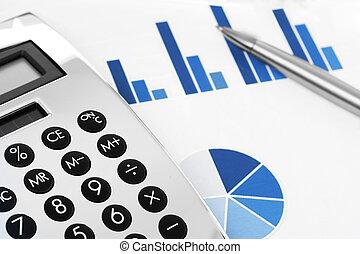finanziell, concept., bestandstabelle, mit, rechner feder