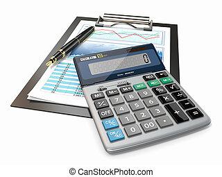 finanziell, concept., bestandstabelle, taschenrechner, und, pen.