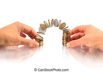 finanziell, geldmünzen, geschäftskonzept, geld, fliegenden geld, wachstum, hände, halten, stapel