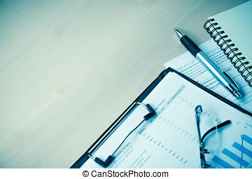 finanziell, geschaeftswelt, mockup, hölzern, table.document, stift, bericht